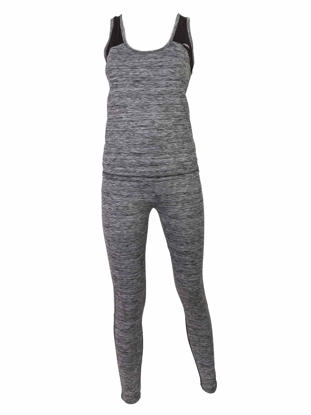 ženski fitnes komplet sivi